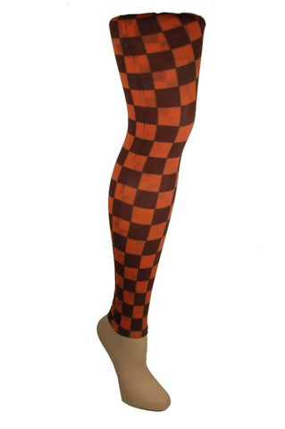 Various Clothing Tights Footless Brown And Orange Check Tight