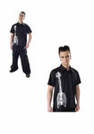 Dead Threads Black Cotton Short sleeved shirt Skeleton Guitar (GS1208) Mens Shirt