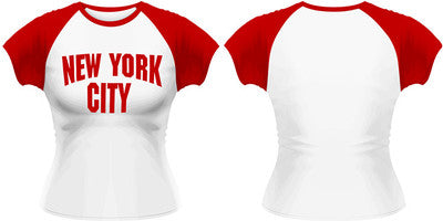 Beatles John Lennon New York City Raglan Womens Top