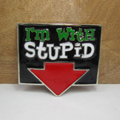 "Various Belt ""I'm with Stupid"" Belt Buckle Belt Buckle"