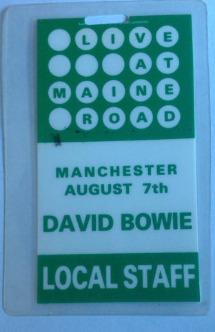David Bowie Staff back stage pass maine road Vintage Stage Passe