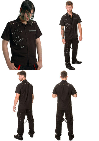Dead Threads Short Sleeved Black cotton shirt with loops GS8809 Mens Shirt