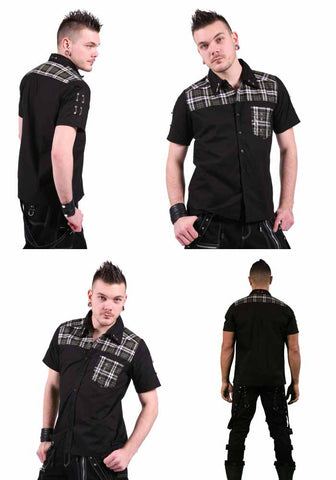 Dead Threads Black Cotton short sleeved shirt Tartan Safety Pins GF9393 Mens Shirt