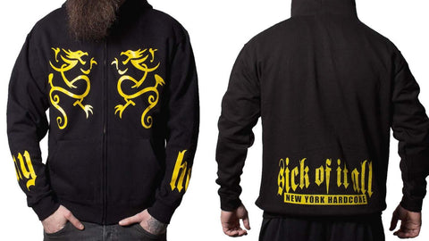 Sick Of It All Zipped Yellow Dragon New York Hardcore Mens Hoodie