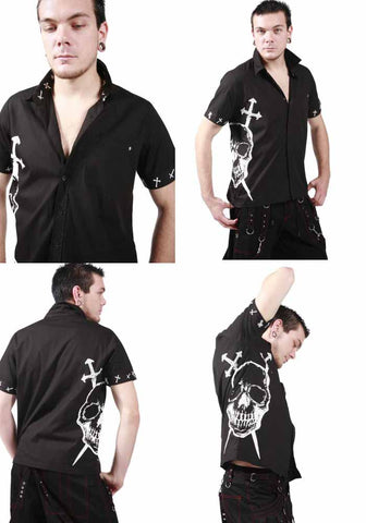 Dead Threads Black Cotton short sleeved shirt Skull and Swords GS9327 Mens Shirt