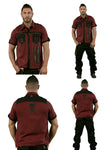Dead Threads Red Grey Check zipped short sleeved shirt GS9754 Mens Shirt