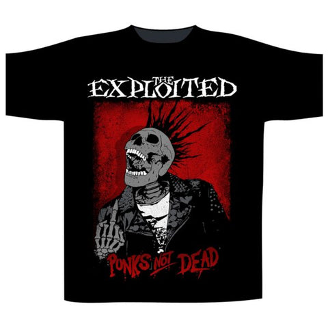 Exploited Skull Splatter Punks Not Dead Mens Tshirt
