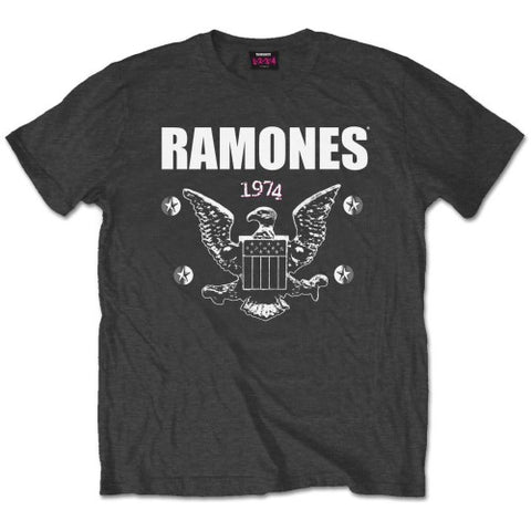 Ramones 1974 Eagle on Grey T-shirt