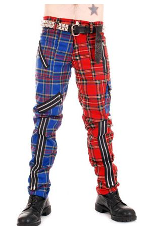 Tiger Of London Red and Blue Zip Bondage Split Leg Pants CCF-800 Mens Trouser