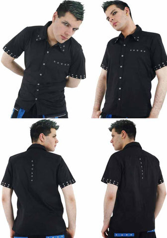 Dead Threads Black Cotton Chrome Press Studs GS8981 Mens Shirt