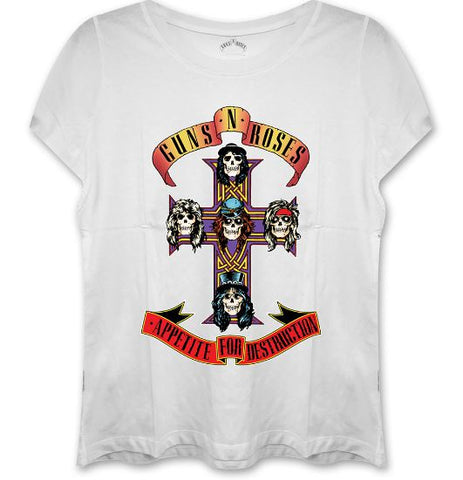 Guns N Roses Appetite For Destruction Ladies on white Womens Top