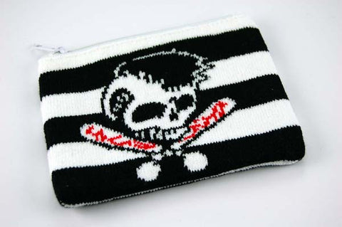 Various Stuff  Purse Knitted Skull On Stripes Purses and Wallet