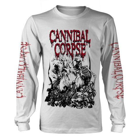 PILE OF SKULLS 2018 (WHITE) - Mens Longsleeves (CANNIBAL CORPSE)