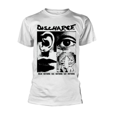 HEAR NOTHING (WHITE) - Mens Tshirts (DISCHARGE)