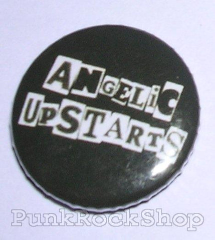 Angelic Upstarts White Logo on Black Badge