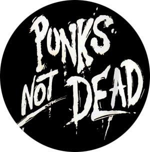 Punks Not Dead White Logo Badge