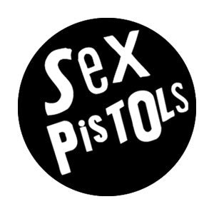 Sex Pistols White On Black Logo Badge