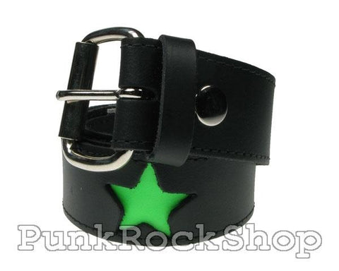 Belt Green Star Indent on Black Belt