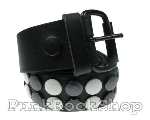 Belt 2 Row Black N White Button on Black Belt