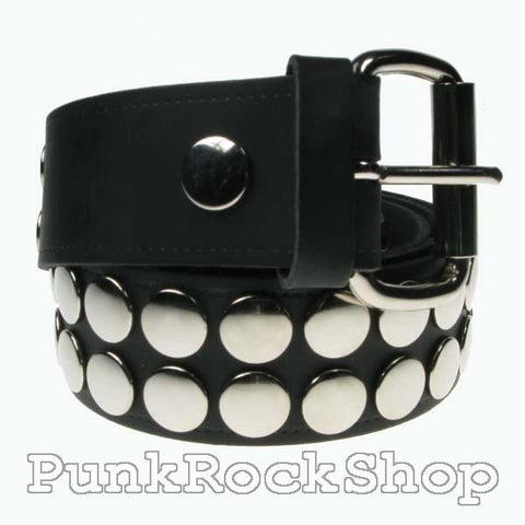 Various Punk 2 Row Silver Button Leather Belt 38 mm Belt