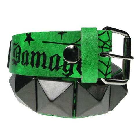 Belt Green Damage Large Pyramid Belt