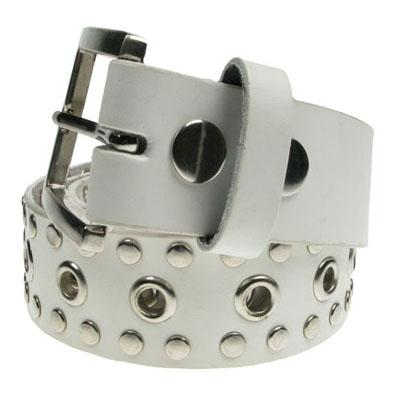 Belt Rivet Edge Eyelet White Belt