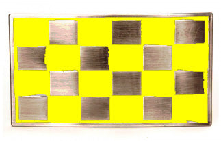 Punk Buckle 27 Yellow and Silver Checker Flag Belt Buckle