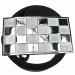 Punk Buckle 43 White and Silver Checker Flag Belt Buckle