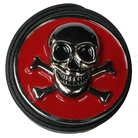 Red and Silver Skull And Crossbones Belt Buckle