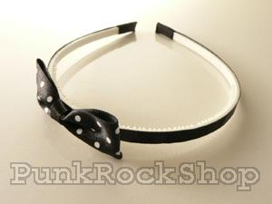 Various Stuff Headband Spotty bow Headband White on Black Hair Accessorie