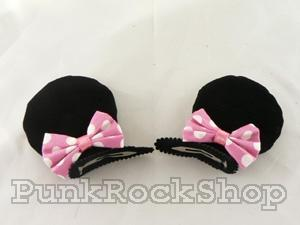 Hair Slides Minnie Mouse Clip-on Ears Pink Hair Accessorie
