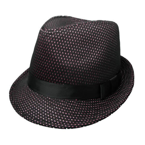 Festival Clothing Trilby Hat Black White Polka Dot Headwear