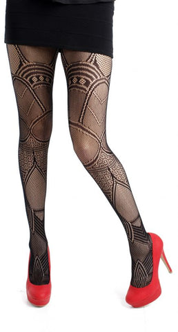 Pamela Mann Deco Net Tights Black Tight