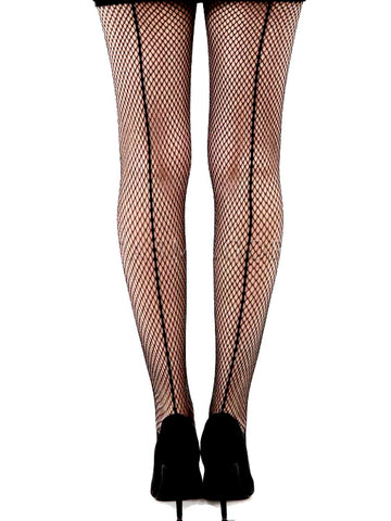 Pamela Mann Fishnet Seamed Tights Black Tight