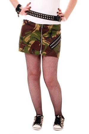 Various Punk Tiger Camo Bondage Split Skirt Skirt