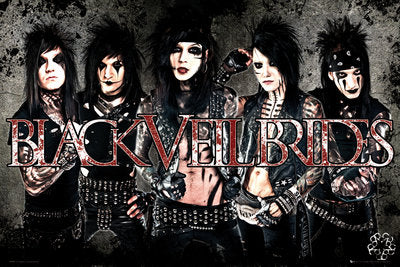 Black Veil Brides Band Row Shot with Logo Sticker
