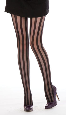 Pamela Mann Solid Sheer Stripe Tights Black Tight