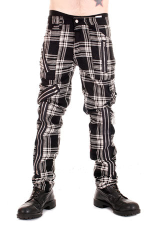 Tiger Of London Original Tiger Zip Bondage Cotton Black and White Tartan Pants Mens Trouser
