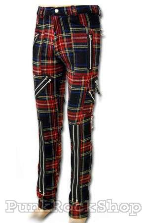 Tiger Of London Multi Zip Bondage Tartan Pants Mens Trouser