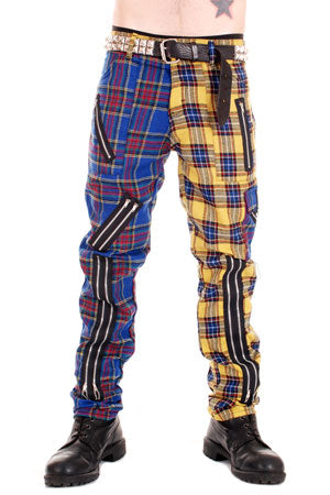 Tiger Of London Tiger of London Yellow Blue Split Leg Mens Trouser