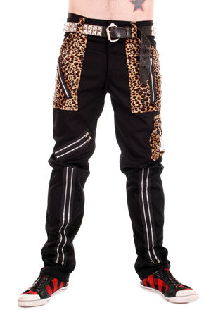 Various Punk Tiger Of London Zip Bondage Pants in Black Leopard Mens Trouser
