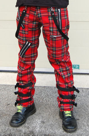 Tiger Of London Tiger of London Red Tartan Strap Bondage CCF-794 Mens Trouser