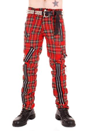 Tiger Of London Tiger of London Red Tartan with zips CCF752 Mens Trouser