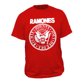 Ramones Crest On Red Mens Tshirt