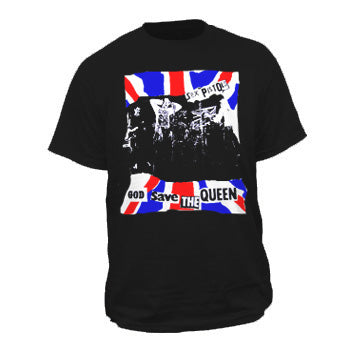 Sex Pistols God Save Queen Band Black T-shirt