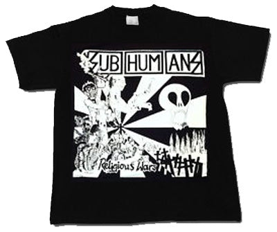 Subhumans Religious Wars on Black Mens Tshirt