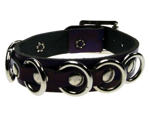 Various Punk Silver Loop Leather Wristband Wristband