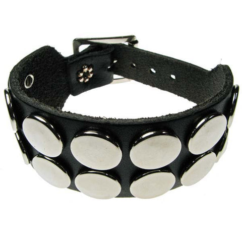 2 Row Silver Button leather Wrisband Wristband