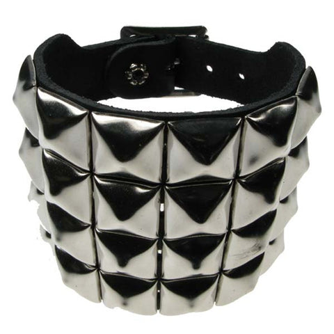 Various Punk 4 Row Pyramid Silver Stud Wristband