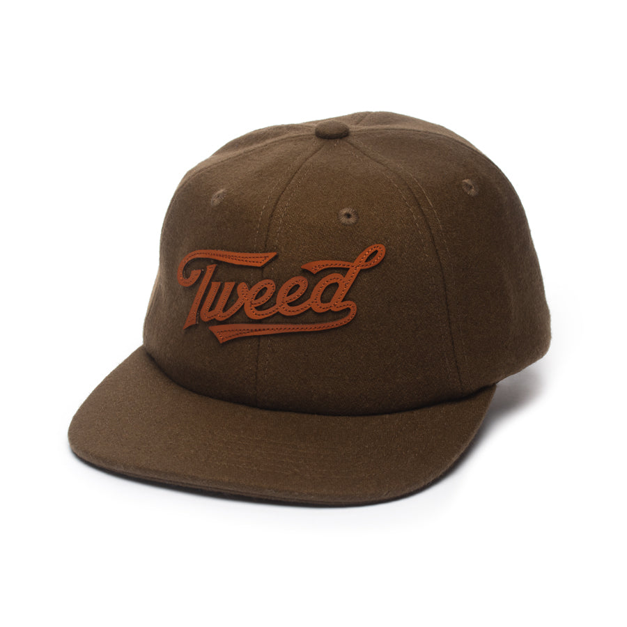 Tweed Flannel Hat with Leather Strap